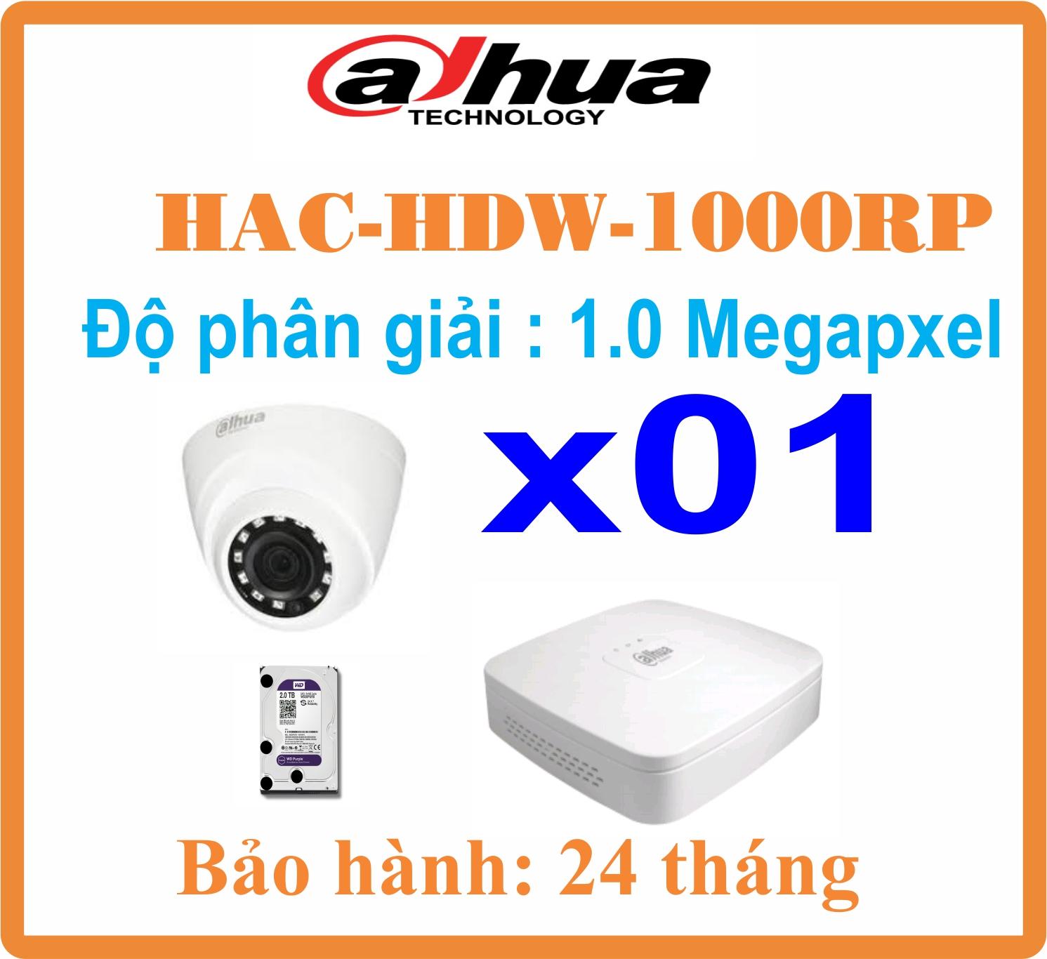 BỘ 01 CAMERA Dome Dahua 1.0 Megapixel