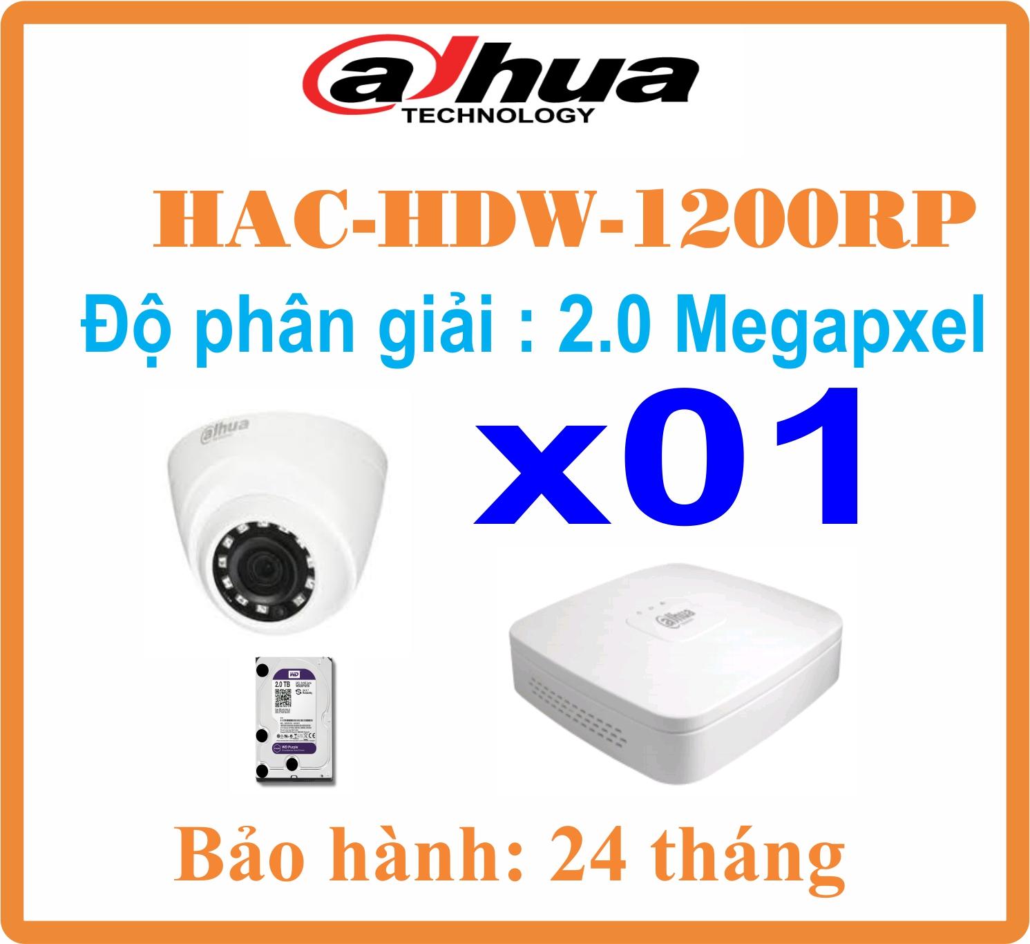 BỘ 01 CAMERA Dome Dahua 2.0Megapixel