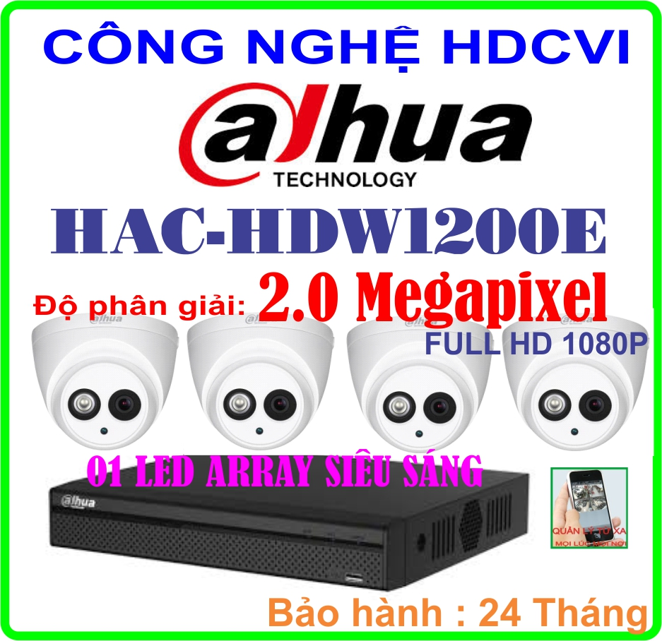 Hệ Thống 4 Camera Khuyến Mãi CAMERA DAHUA HAC-HDW1200E