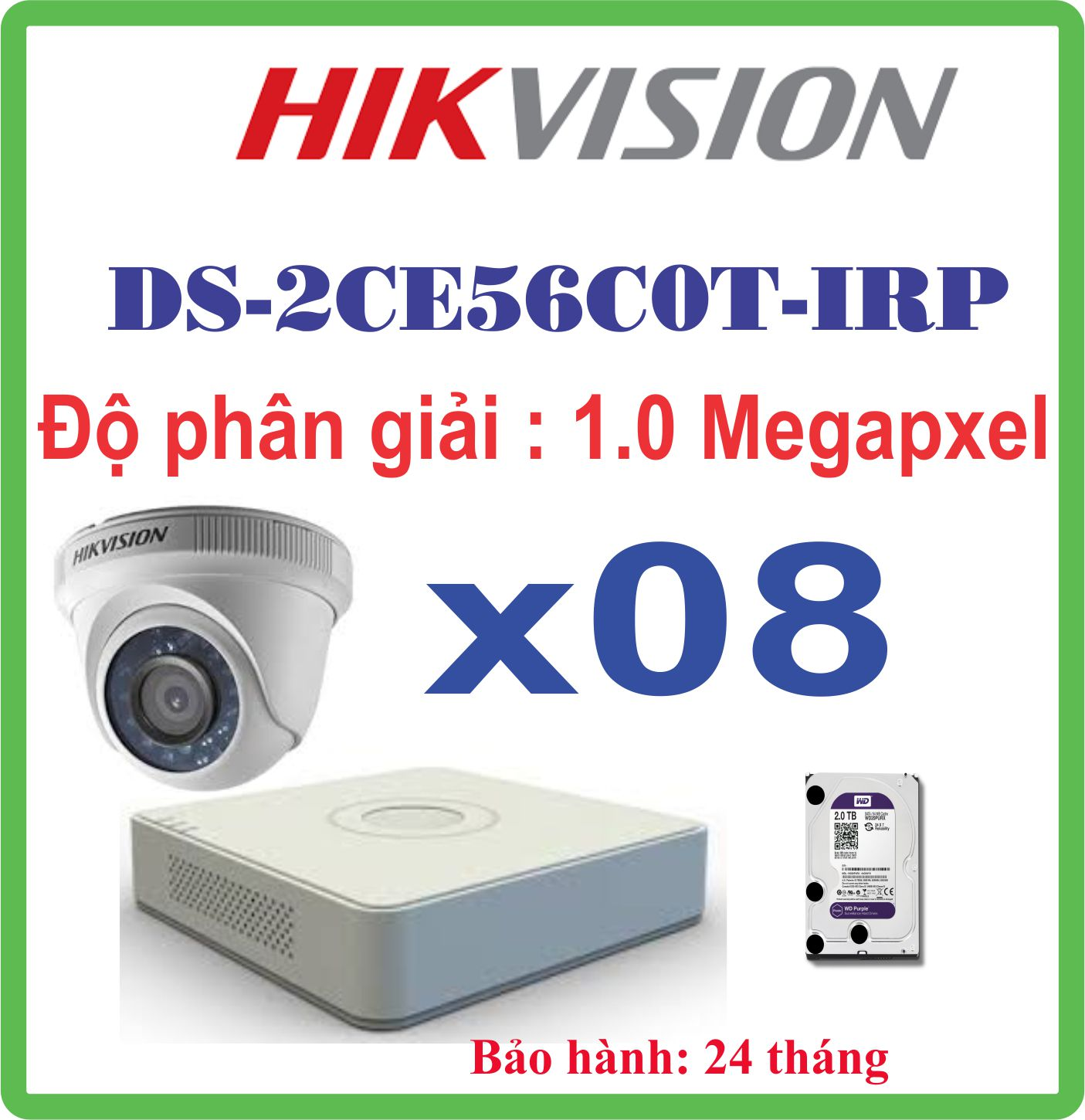camera trọn bộ 08 CAMERA HIKVISION  DS-2CE56COT IRP