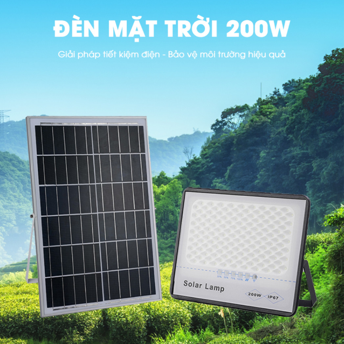 ĐÈN 200W CHỐNG CHÓI NĂNG LƯỢNG MẶT TRỜI - Solar Light 200W