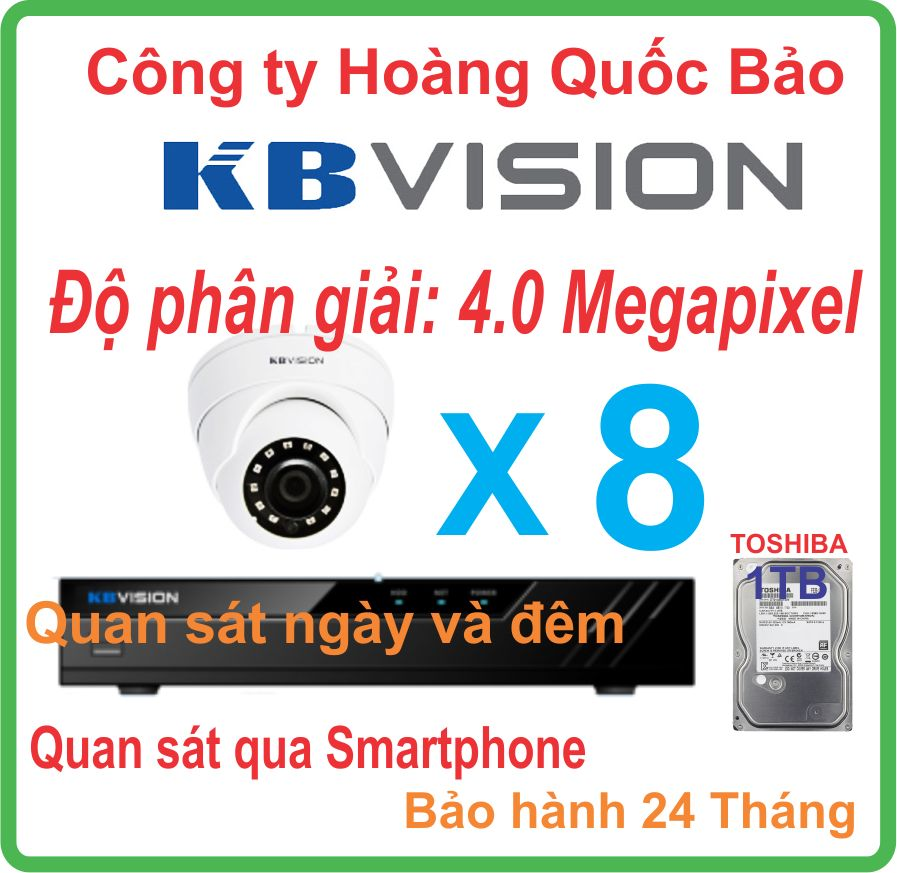 Hệ thống 08 camera Dome KBVISION 4.0 Megapixel.