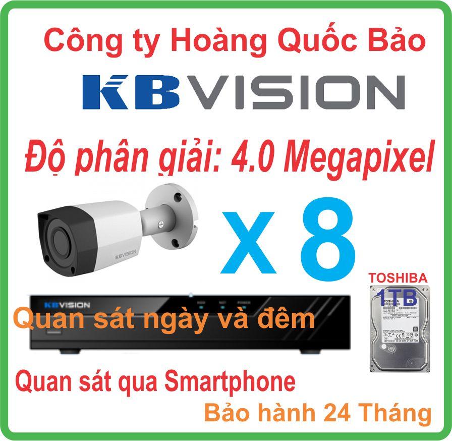 Hệ thống 08 camera thân KBVISION 4.0 Megapixel.