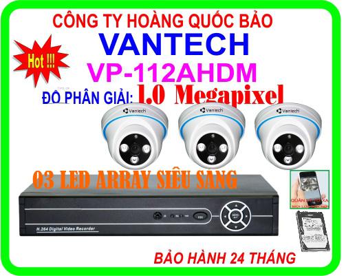 Hệ Thống 3 Camera Khuyến Mãi VANTECH HQB - 112AHDM