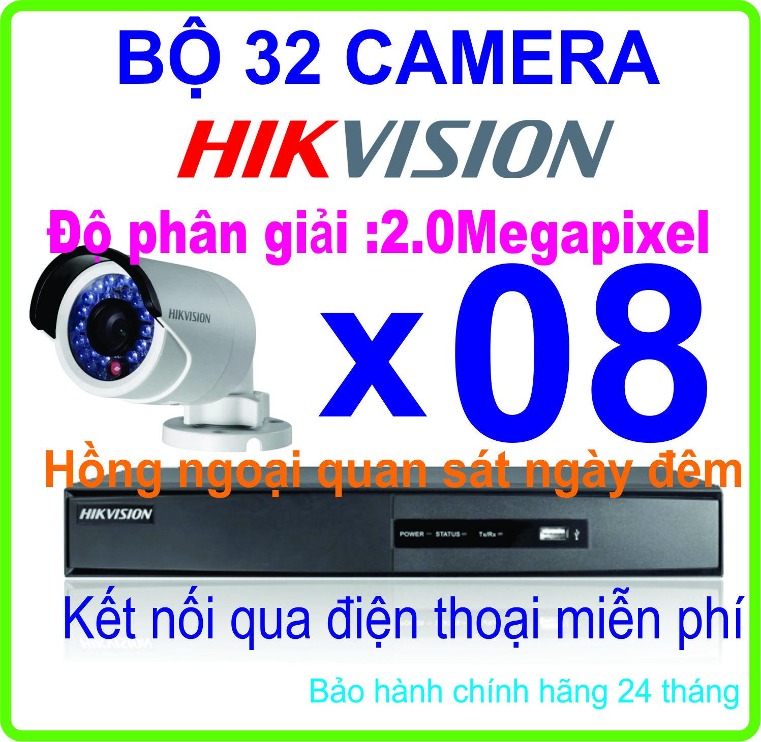 Hệ Thống Trọn Bộ 08 CAMERA HIKVISION 2.0Megapixel