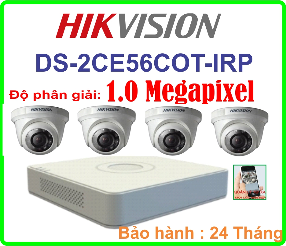 Hệ Thống 4 Camera Khuyến Mãi HIKVISION giá rẻ  DS-2CE56COT IRP