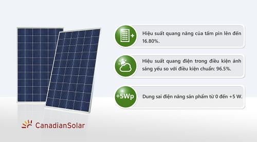Pin năng lượng mặt trời Canadian (Poly- Class A) 380W