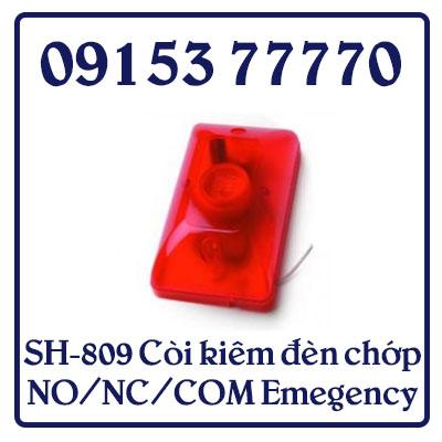 SH-809 Còi kiêm đèn chớp NO/NC/COM Emegency( bằng Inox) KT 80x86x20 - Chất liệu INOX