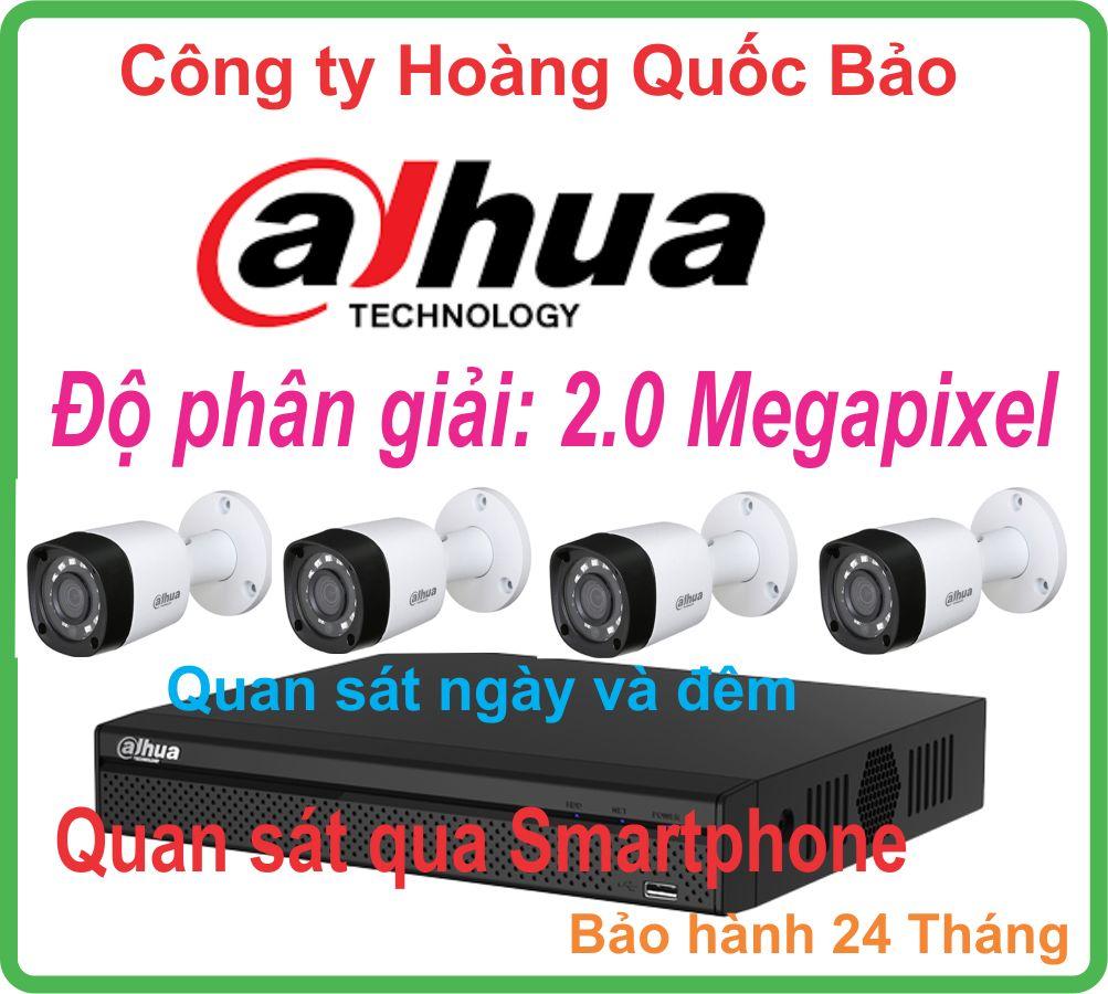 TRỌN BỘ 04 CAMERA DAHUA 2.0 Megapixel