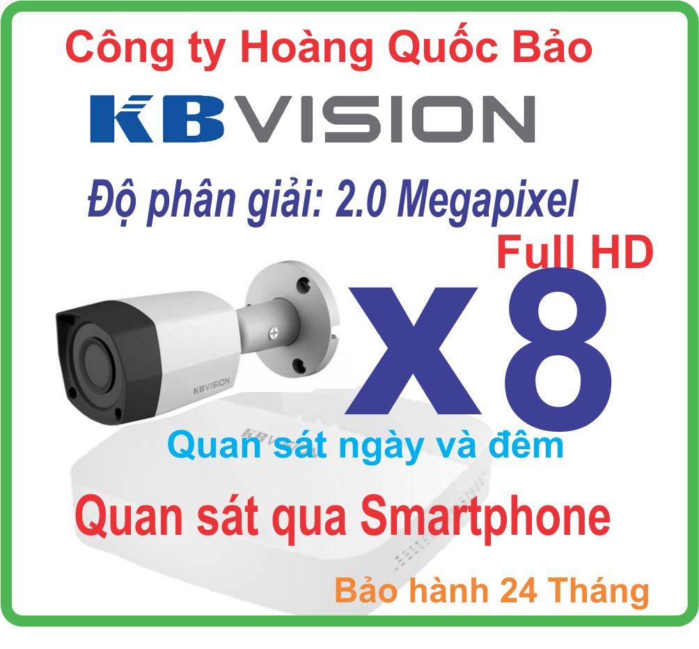Trọn bộ 08 Camera KBVISION KX-2001C4 - 8CH